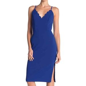 Socialite Women's Blue Scallop Trim Bodycon Dress